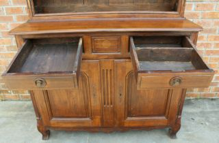 ANTIQUE EARLY 19TH C FRENCH COUNTRY WALNUT CUPBOARD CABINET VAISSELIER HUTCH 7