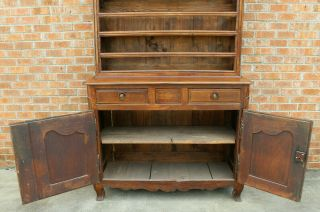 ANTIQUE EARLY 19TH C FRENCH COUNTRY WALNUT CUPBOARD CABINET VAISSELIER HUTCH 9