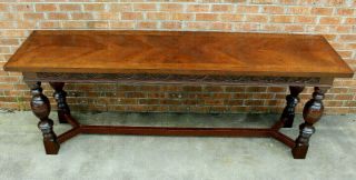 8 Ft Long Antique Scottish Carved Refectory Dining Table Late 19th - Early 20th