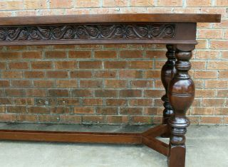 8 FT LONG ANTIQUE SCOTTISH CARVED REFECTORY DINING TABLE LATE 19TH - EARLY 20TH 3