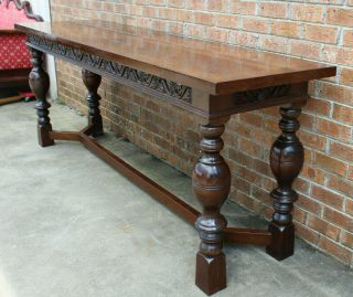 8 FT LONG ANTIQUE SCOTTISH CARVED REFECTORY DINING TABLE LATE 19TH - EARLY 20TH 4