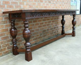 8 FT LONG ANTIQUE SCOTTISH CARVED REFECTORY DINING TABLE LATE 19TH - EARLY 20TH 5