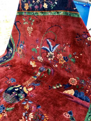 Auth: Antique Art Deco Chinese Rug Nichols Red Modernism Masterpiece 10x14 Nr