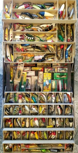 Huge Vintage 8 - Tray Tackle Box,  200,  Old Fishing Lures,  27 Boxes,  Nr