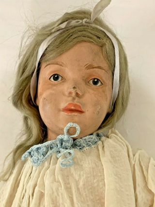 "Large Antique 19 "" Wooden Jointed Schoenhut Girl Doll - Blue Eyes - Pat.  1911 -"