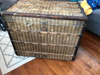 Antique Louis Vuitton Rayee Striped Canvas Trunk 4