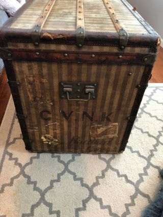 Antique Louis Vuitton Rayee Striped Canvas Trunk 5