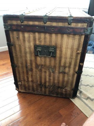 Antique Louis Vuitton Rayee Striped Canvas Trunk 6