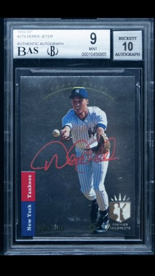 1993 Sp Foil 279 Derek Jeter Yankees Rc Signed Rare Red Ink Auto Bgs 9 Bas 10
