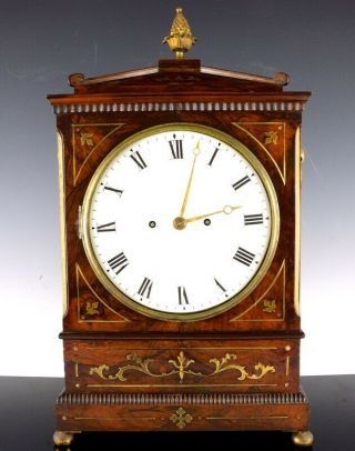 Ex.  Rare Large C1820 Regency Brass Inlaid Mahogany Mantle Clock Frodsham London