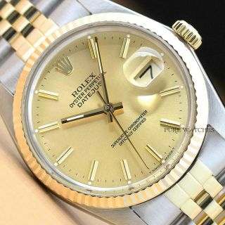 Rolex Mens Datejust 18k Yellow Gold & Stainless Steel Watch W/ Band