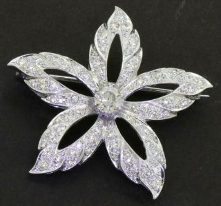 Vintage 1950s Heavy Platinum 2.  71ctw Vs Diamond Star Brooch W/.  71ct Ctr.