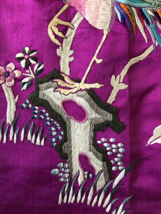 Vintage 1920s 1930s Chinese Purple Silk Floral & Bird Embroidered Skirt Republic 10