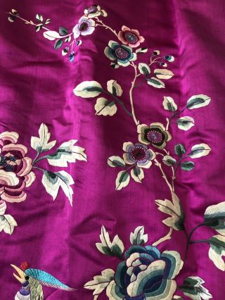 Vintage 1920s 1930s Chinese Purple Silk Floral & Bird Embroidered Skirt Republic 12