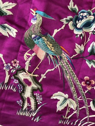 Vintage 1920s 1930s Chinese Purple Silk Floral & Bird Embroidered Skirt Republic 2