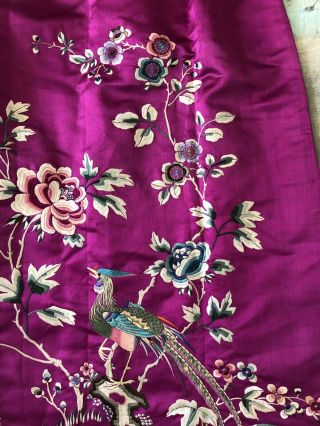 Vintage 1920s 1930s Chinese Purple Silk Floral & Bird Embroidered Skirt Republic 3