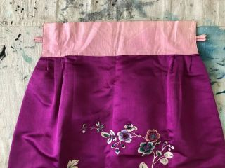 Vintage 1920s 1930s Chinese Purple Silk Floral & Bird Embroidered Skirt Republic 5