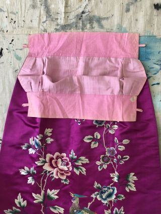 Vintage 1920s 1930s Chinese Purple Silk Floral & Bird Embroidered Skirt Republic 6