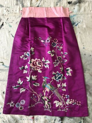 Vintage 1920s 1930s Chinese Purple Silk Floral & Bird Embroidered Skirt Republic 7