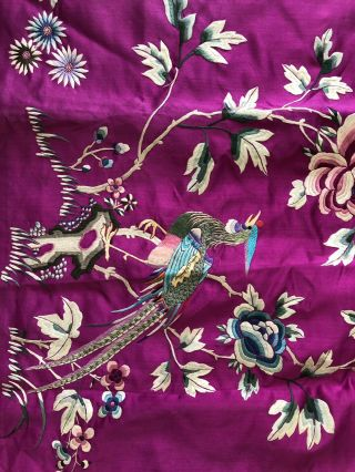 Vintage 1920s 1930s Chinese Purple Silk Floral & Bird Embroidered Skirt Republic 8