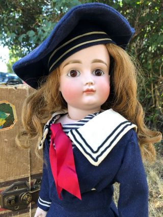 19 Inch Closed Mouth Kestner Marked Xii German Bisque Doll Sailor Costume C.  1890