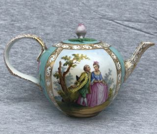 Antique 19thc Dresden Hand Painted Porcelain Teapot