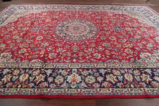 Traditional Floral Red Najafabad Area Rug Vintage Hand - Made Oriental Wool 10x14