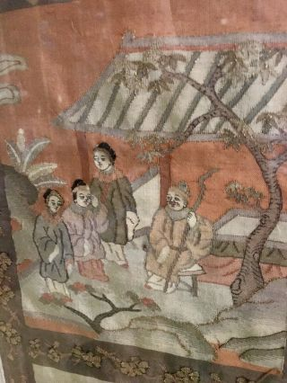 Antique Chinese Kesi Embroidery 4 Panel Tapestry 8 IMMORTALS Deities 40x42 10