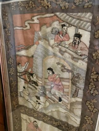 Antique Chinese Kesi Embroidery 4 Panel Tapestry 8 IMMORTALS Deities 40x42 11