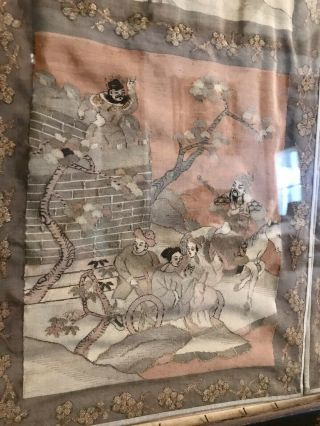 Antique Chinese Kesi Embroidery 4 Panel Tapestry 8 IMMORTALS Deities 40x42 12