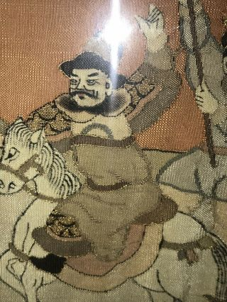 Antique Chinese Kesi Embroidery 4 Panel Tapestry 8 IMMORTALS Deities 40x42 3