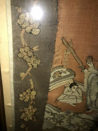 Antique Chinese Kesi Embroidery 4 Panel Tapestry 8 IMMORTALS Deities 40x42 5