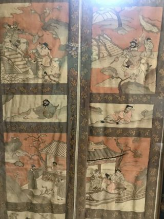 Antique Chinese Kesi Embroidery 4 Panel Tapestry 8 IMMORTALS Deities 40x42 6