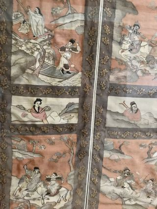 Antique Chinese Kesi Embroidery 4 Panel Tapestry 8 IMMORTALS Deities 40x42 7