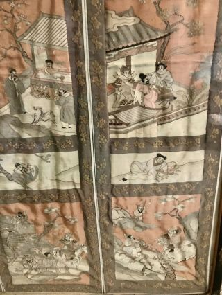 Antique Chinese Kesi Embroidery 4 Panel Tapestry 8 IMMORTALS Deities 40x42 8