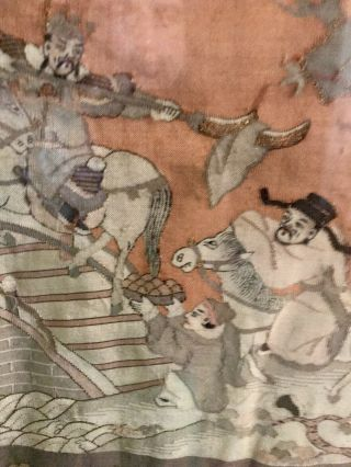 Antique Chinese Kesi Embroidery 4 Panel Tapestry 8 IMMORTALS Deities 40x42 9