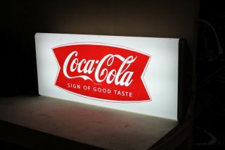 Rare 1950s Drink Coca Cola Sign Of Taste Lighted Sign Fishtail Coke