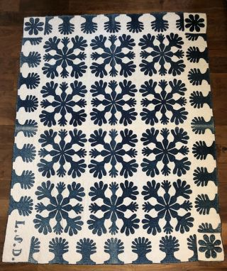 Antique 1800's Applique Blue & White Oak Leaf Quilt Handmade Stitched Initials