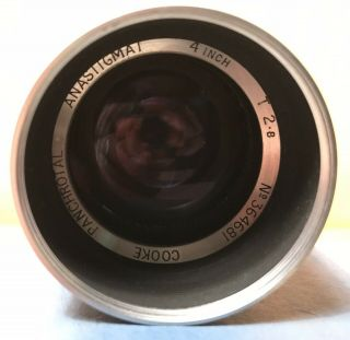 "Very Rare Cooke Panchrotal Anastigmat 4 "" 100mm T 2.  8 Lens Taylor Hobson England"