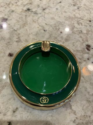 Rare Vintage Gucci Ashtray Emerald Green With Tag