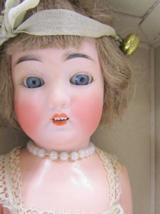 "Atq Simon & Halbig 13 "" German Bisque Head "" Flapper "" Doll - Orig Box & Clothes"