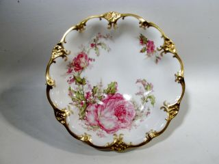 Antique Haviland & Co Limoges France Christmas Rose Footed Serving Bowl Cabbage