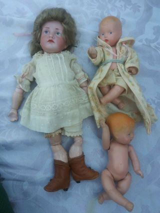 Antique German Bisque Head Character Baby Doll 3 K R Star Mk 114