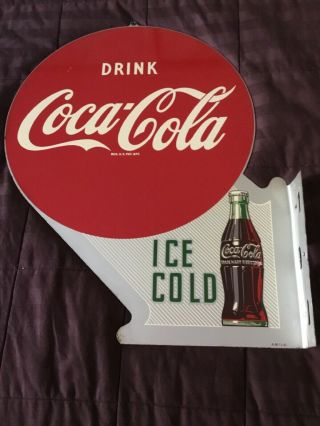 1940's Vintage Coca - Cola Double Sided Flange Sign
