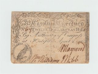 1776 North Carolina Colonial Currency $12.  50 Rare Twelve And Half Dollar Note