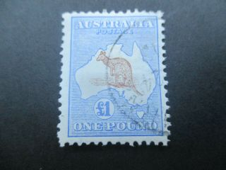 Kangaroo Stamps: £1 1st Watermark Cto Melbourne Cancel - Rare (-)