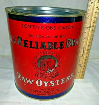 Antique Old Reliable Oyster Tin Litho 1gal Can Vintage Baltimore Md Seafood Dog