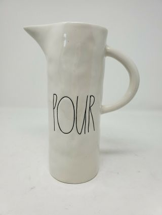 Rare Rae Dunn Pour Pitcher Ceramic Magenta Exclusive Ivory Farmhouse Rustic