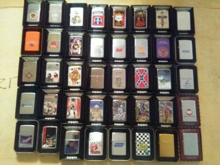 40 Vintage Camel Zippo lighters,  40 Other Zippos,  Display unfired 80 total 6