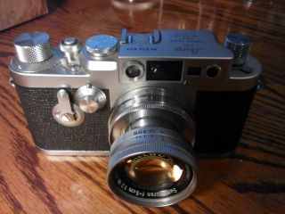 Vintage Leica Iiig With Summicron 50mm F2 Collapsible Lens And Case.